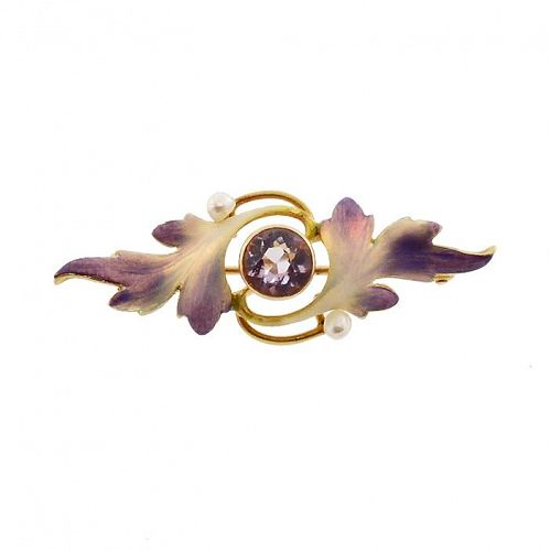 Art Nouveau 14K Gold, Enamel & Amethyst Pin by Krementz
