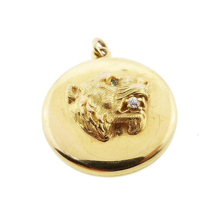 Victorian 18K Gold, Diamond & Emerald Lion Locket