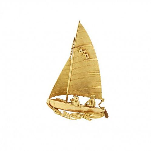 Vintage Fred of Paris 18K Gold 420 Class Sailboat Brooch / Pendant