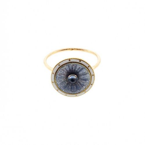 French 18K Gold, Sapphire & Enamel Conversion Ring