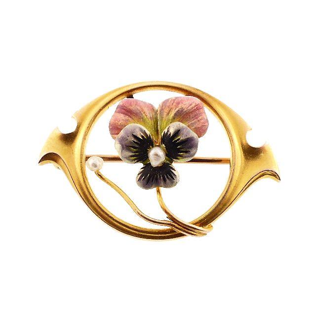 Art Nouveau Enameled Pansy & Pearl Pin