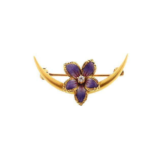 Art Nouveau Diamond & Enamel Violet Honeymoon Pin by Larter