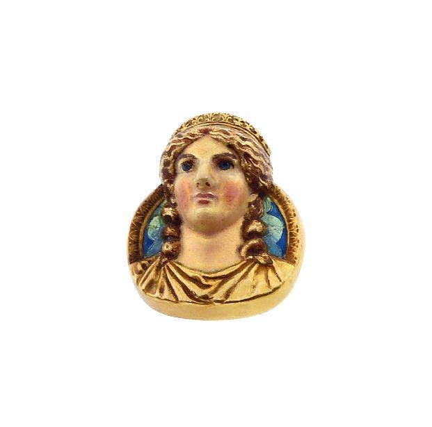 Art Nouveau Mardi Gras COMUS 14K Gold & Enamel Pin