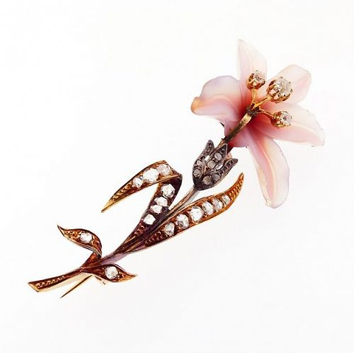 French Art Nouveau 18K Gold, Diamond & Carved Hardstone Orchid Brooch