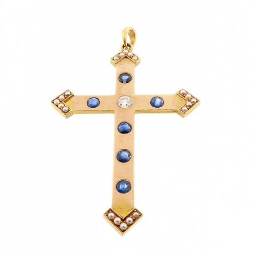 Victorian 14K Gold, Diamond, Sapphire & Pearl Cross Crucifix Pendant