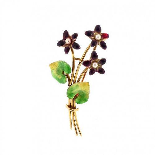 Art Nouveau Krementz 14K Gold Enamel Pearl Violet Bouquet Pin