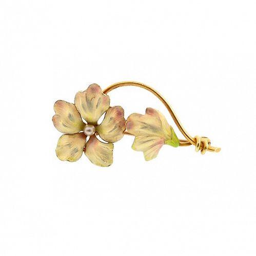 Art Nouveau 14K Gold, Enamel & Seed Pearl Flower Pin