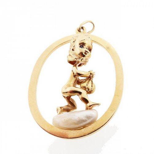 William Ruser 14K Gold Sapphire Pearl Thursday's Child Charm / Pendant