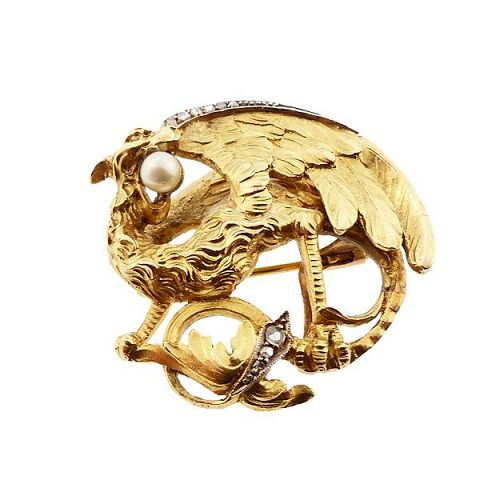 Art Nouveau 18K Gold Diamond Mythological Griffin Watch Pin