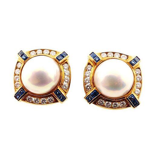 18K Gold, Pearl, Diamond & Sapphire Earrings by SPARK