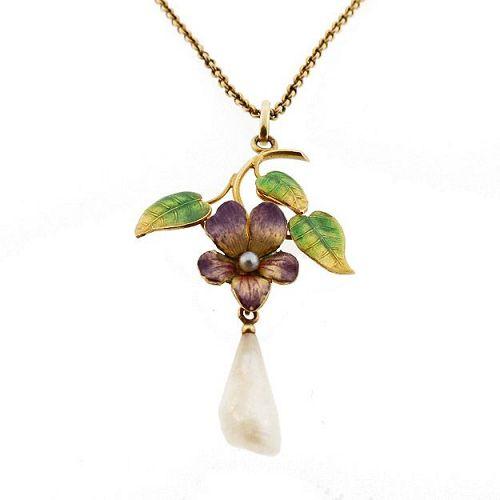 Art Nouveau Enameled Violet Pearl & 14K Gold Pendant Necklace
