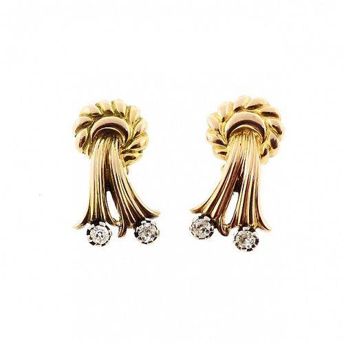 Retro 18K Gold & Diamond Bow Earrings