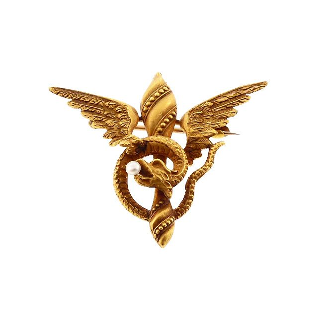Victorian 10K Gold & Pearl Mythological Ophis Pin