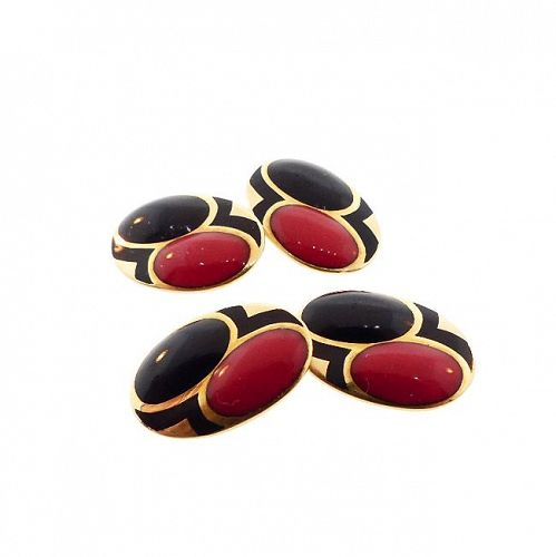 French Art Deco 18K Gold & Enamel Cufflinks