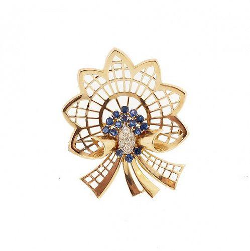 Retro 14K Gold, Diamond & Sapphire Bow or Comet Brooch