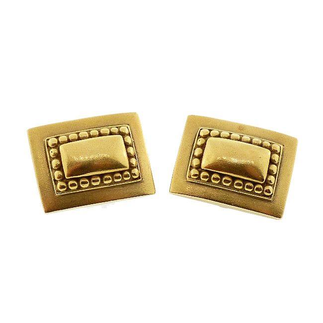 Kieselstein-Cord 18K Gold Rectangle Earrings