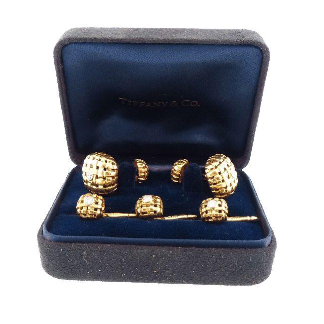 Tiffany & Co. 18K Gold & Diamond VANNERIE Cufflinks & Studs Dress Set