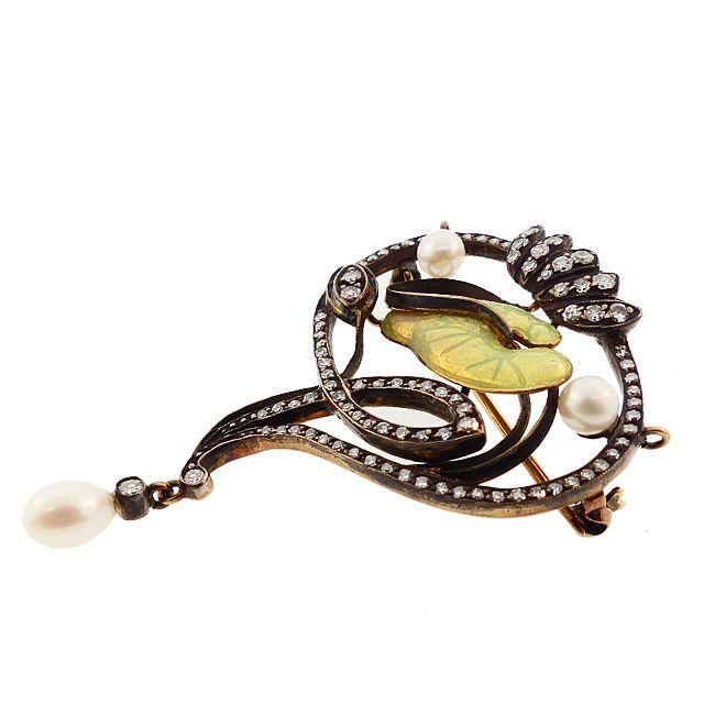 French Art Nouveau 18K Gold Diamond Pearl Enamel Lily Pad Pendant
