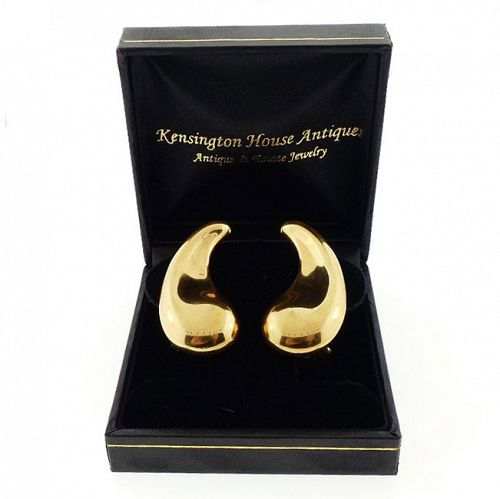 Tiffany & Co. Elsa Peretti 18K Gold COMMA Earrings