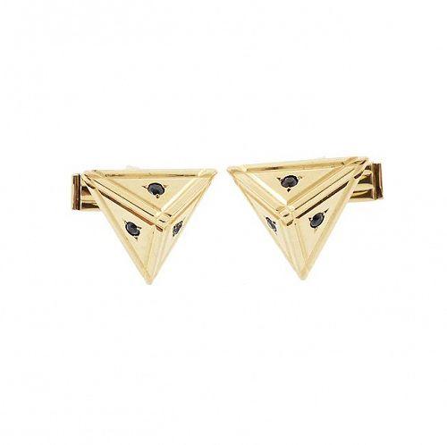Modernist 14K Gold & Blue Sapphire Pyramid Cufflinks