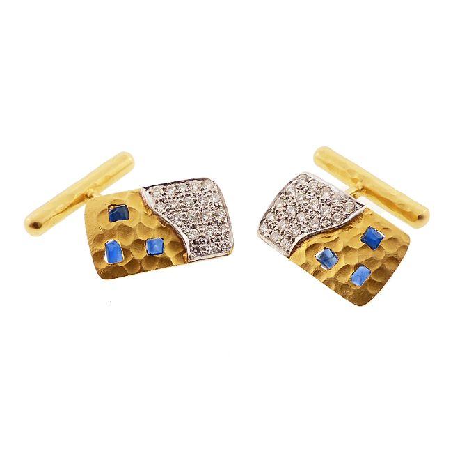 Coera by Lunia 18K Gold, Diamond & Sapphire Cufflinks