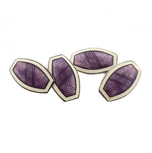 Edwardian Sterling Silver Purple Guilloche Enamel Cufflinks