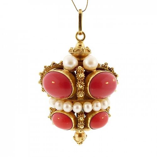 Venetian Etruscan Revival 18K Gold Red Coral & Pearl Fob Charm Pendant