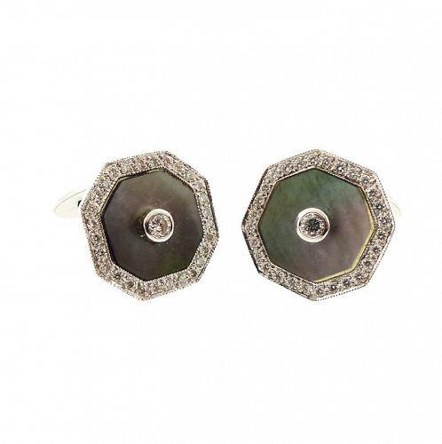 18K White Gold Black Mother Pearl Diamond Cufflinks