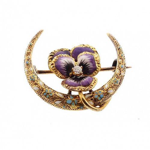 Krementz Art Nouveau 14K Gold, Enamel & Diamond Pansy Honeymoon Pin