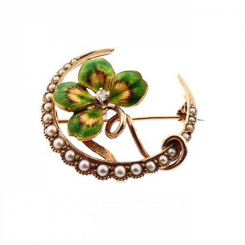 Art Nouveau 14K Gold Enamel Diamond Pearl 4-Leaf Clover Honeymoon Pin