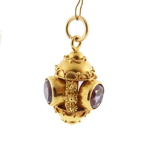 Venetian Etruscan 18K Gold & Amethyst Charm / Pendant