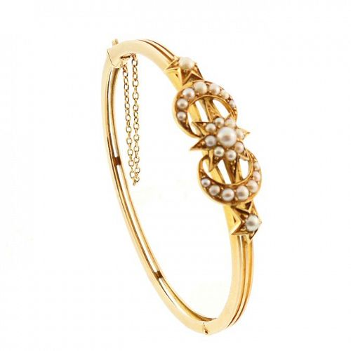 Victorian 14K Gold & Pearl Crescent Moon & Star Bangle Bracelet