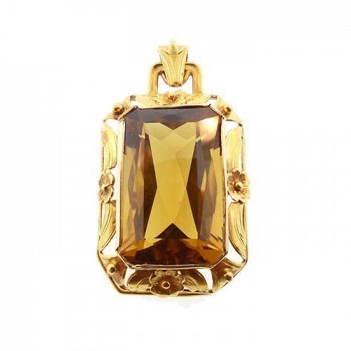Late Art Nouveau 14K Gold & Citrine Pendant