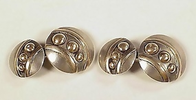 Art Deco Silver & 14K Gold Cufflinks