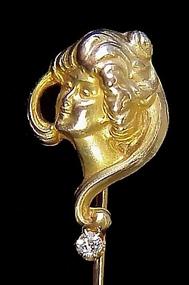 Art Nouveau 10K Gold & Diamond Lady Stickpin