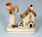 Staffordshire Cottage & Dalmatian Inkwell