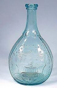 "American Aqua Glass ""Union"" Calabash Bottle"