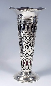Edwardian Sterling Silver & Ruby Glass Vase