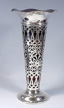 Edwardian Sterling Silver & Ruby Glass Vase