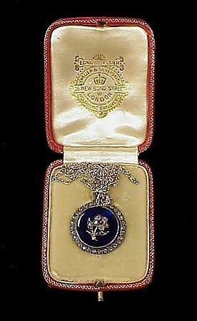 Victorian French Silver Enamel Paste Pendant