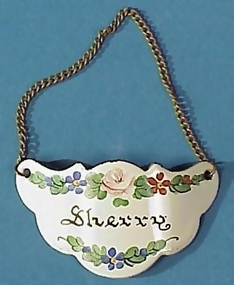 """Sherry"" Enameled Bottle/Decanter Tag"