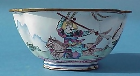 Chinese Painted Enamel Over Copper Bowl