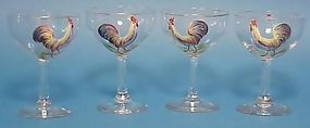 4 Cocktail Glasses with Handpainted Roosters