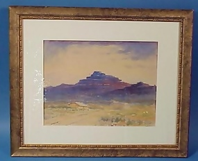 Watercolor Red Mntn. California 1924--Hammond