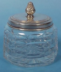 Sterling & Cut Glass Dresser Jar
