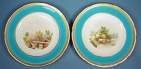 Pair Minton Handpainted Cabinet Plates, 1879