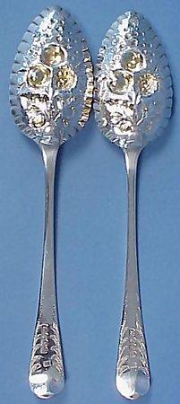 Pair George III Sterling Silver Berry Spoons