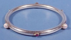 14K Gold, Silver Pearl & Ruby Bangle Bracelet