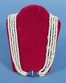 Art Deco Lapis, Paste & Seed Bead Necklace