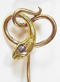 Victorian 18K Gold & Sapphire Snake Stick Pin